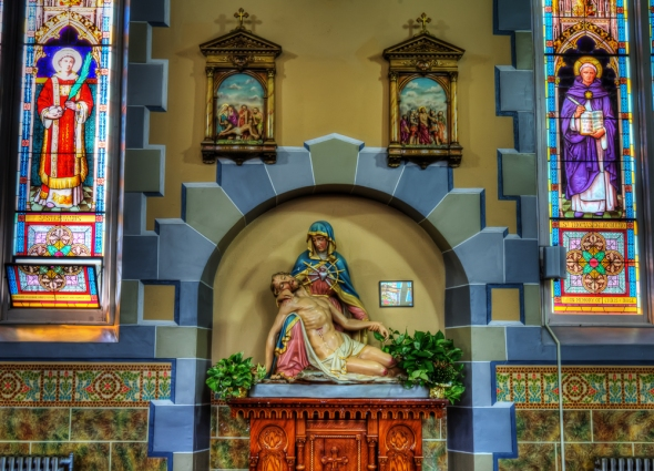 St. Clement RC Church - Statue of Christ and Mary and stain glass windows